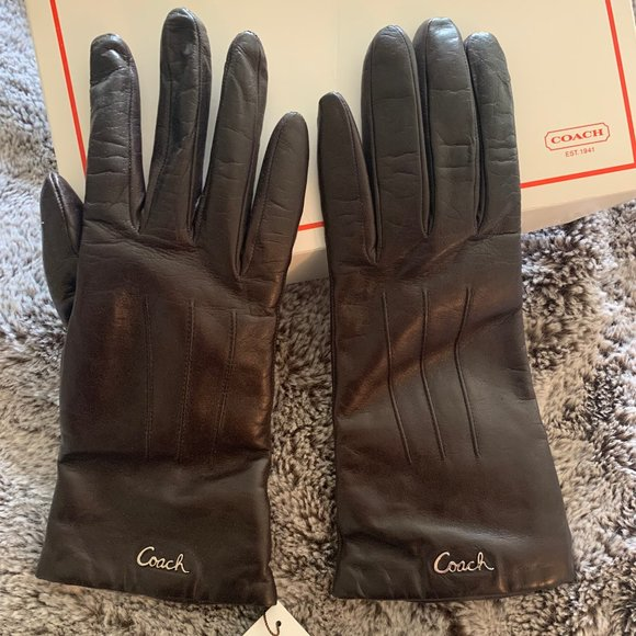 COACH GLOVES NWT BROWN LEATHER CASHMERE LINED